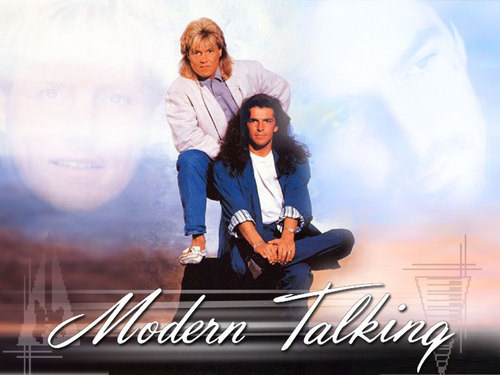 Modern Talking Hintergrund probably with long trousers, a well dressed person, and a sign titled Modern Talking