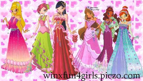 The Winx Gang wallpaper possibly containing a jantar dress, a bridesmaid, and a vestido entitled My(Maisha)'s Winx Artwork