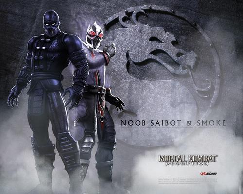 Mortal Kombat kertas dinding with a breastplate and an armor plate titled Noob Saibot & Smoke