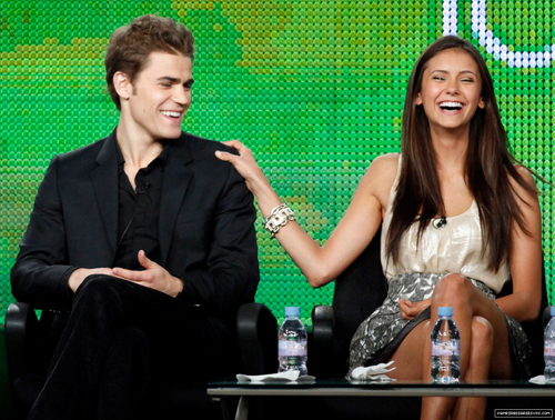 Paul Wesley and Nina Dobrev wallpaper with a well dressed person titled Paul and Nina