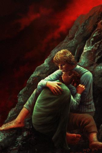 Sam hugging Frodo