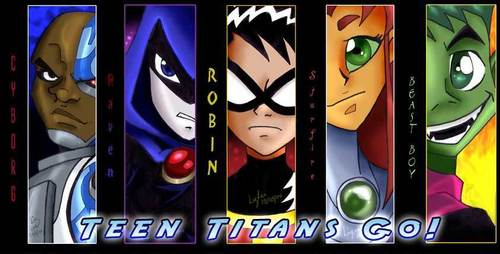 Teen Titans Hintergrund with a stained glass window, a slot, and a slot machine called Teen Titans Go Banner