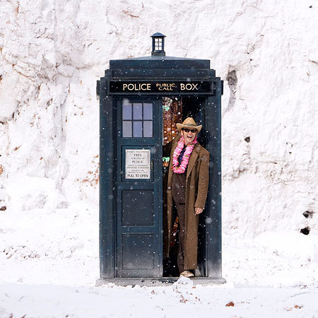 The Doctor cheery in the snow