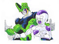 cell and freezer - cell-and-frieza fan art