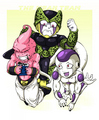 three bad vilains - cell-and-frieza fan art
