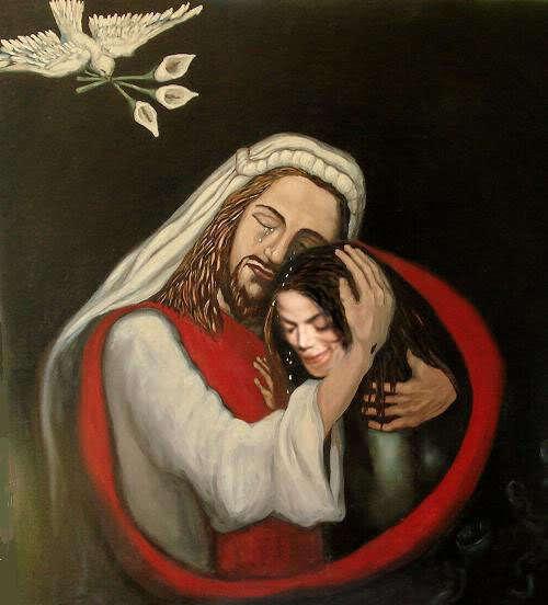 """""""Jesus"""" embracing MJ."""