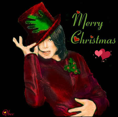 """Michael Jackson wallpaper with a fedora and a boater titled """"Merry Christmas!"""""""