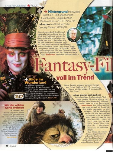 Alice in wonderland in TV Movie magazine
