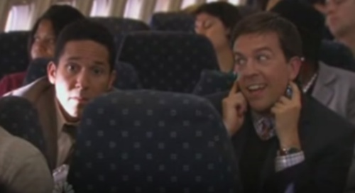 Andy/Oscar on the plane