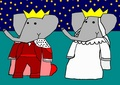 Babar and Celeste - Wedding - babar-the-elephant fan art