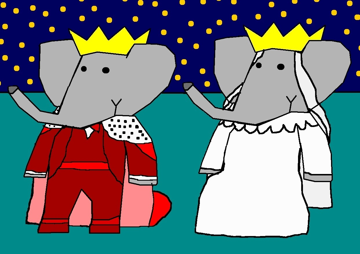 Babar And Celeste Wedding Babar The Gajah Peminat Art 9517943