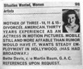 Bette Davis placed an ad announcing that she, a former Academy Award Winner, needed a job!