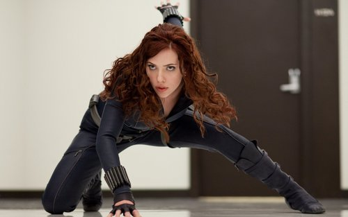 Scarlett Johansson wallpaper containing a hip boot entitled Black Widow (Iron Man 2) Widescreen Wallpaper
