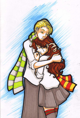 Dramione wallpaper with anime entitled Draco X Hermione