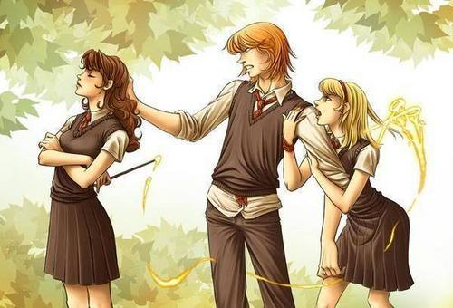 Hermione Granger wolpeyper entitled Hermione and Ron Fanart