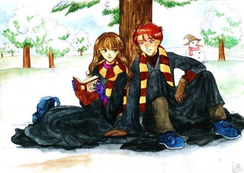 Hermione Granger wallpaper called Hermione and Ron Fanart
