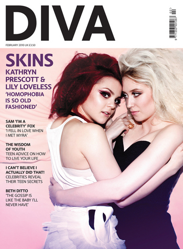 Skins fond d'écran possibly with a newspaper, a portrait, and animé called Kathryn Prescott and Lily Loveless in Diva Magazine