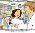 Leia and Luke pick out a fathers day card