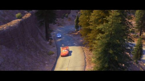 pixar Couples wallpaper containing a carriageway, a ponderosa, and a sitka merapikan, spruce called Lightning McQueen and Sally
