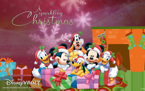 disney wallpaper possibly containing a sign titled Mickey & Pals Sparkling natal