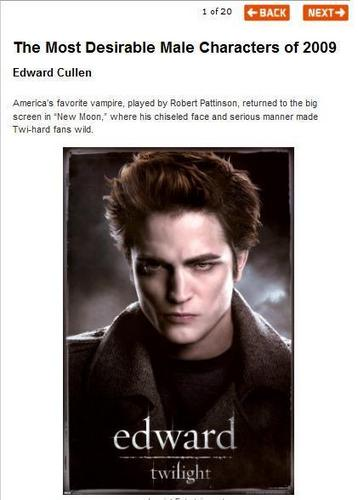 Robert Pattinson's Edward Cullen is One of The Most Desirable Male Characters of 2009