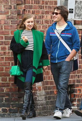 Andy Samberg wallpaper containing a street and an outerwear called Samberg with GF