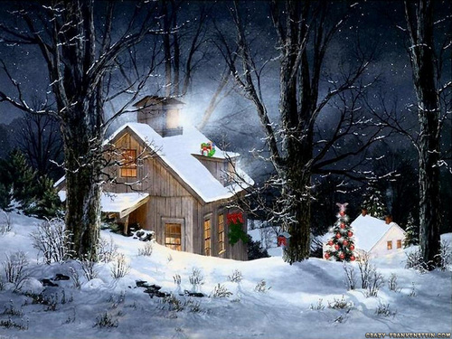Christmas wallpaper with a chalet, a snowbank, and a cabin titled Snowy Cabin
