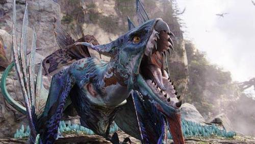 Avatar achtergrond with a triceratops titled The Ikran
