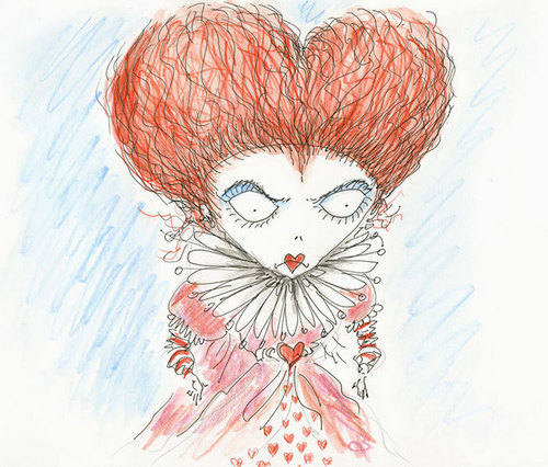Tim Burtons original sketch of the red queen