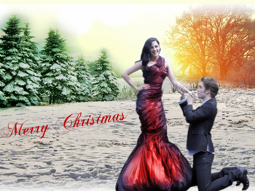 Twilight Series wallpaper possibly containing a dinner dress, a bridesmaid, and a gown called Twilight Christmas