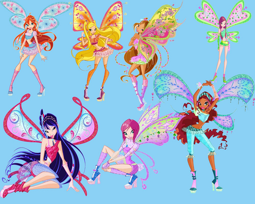 Winx Club karatasi la kupamba ukuta possibly containing anime entitled winx