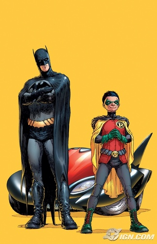 Teen Titans wallpaper probably containing anime titled Dick Grayson as Batman, Damian Wayne as Robin