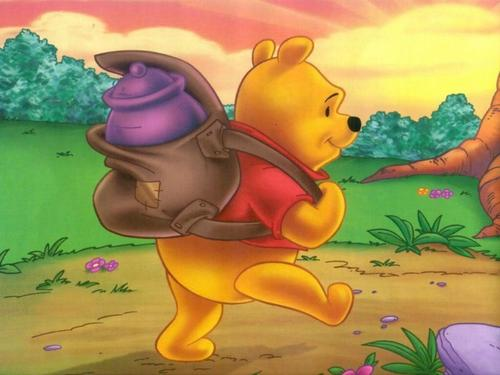 Classic Disney wallpaper with anime titled Pooh's Journey