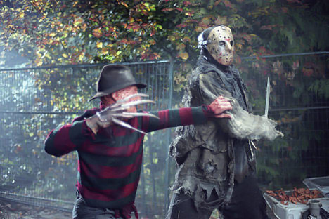 Horror films achtergrond titled Freddy VS Jason