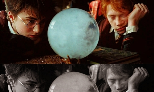 Harry and Ronald having fun at Divination