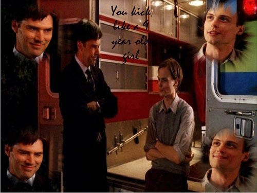 Dr. Spencer Reid wallpaper probably containing a diner and a business suit called Kick