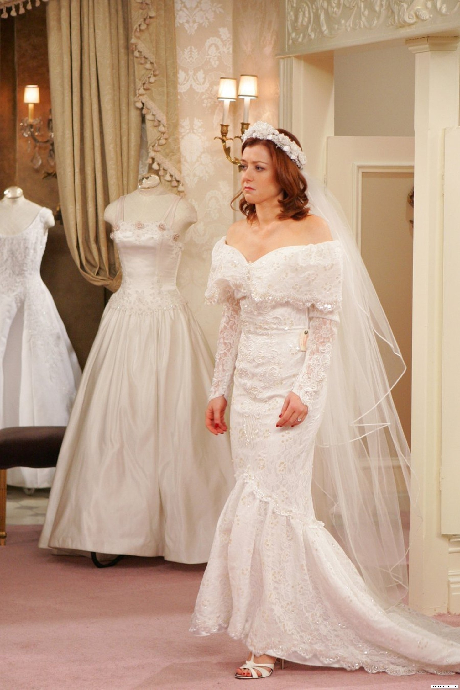 Lily Aldrin Wallpaper Containing A Bridesmaid Gown And Bridal Called