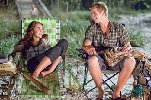 Miley and liam on-set