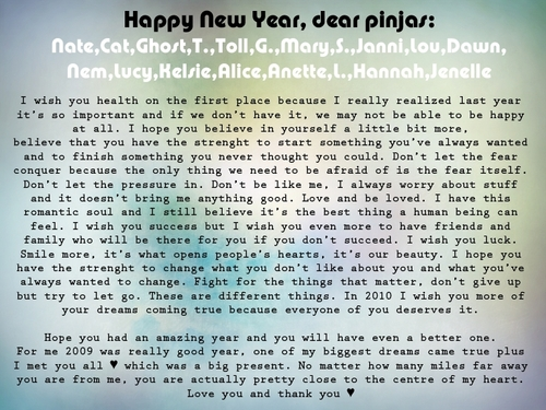 My (long) New jaar wish for all pinjas