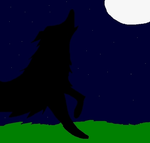 My painting of a serigala howling