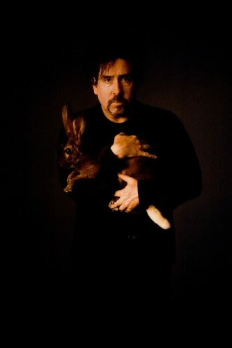 Tim Burtin with rabbit for Alice in Wonderland