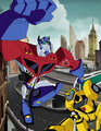 optimus n bumblebee - transformers-animated-series fan art