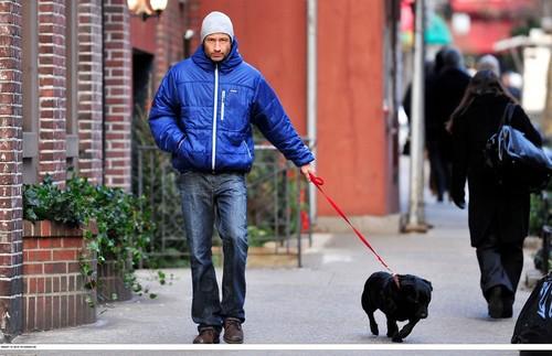 04/01/2010 walking his dog