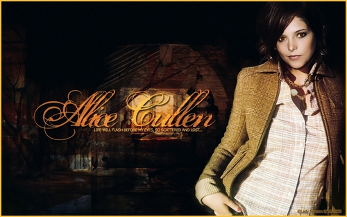 Alice Cullen achtergrond probably with a well dressed person titled Ali;*