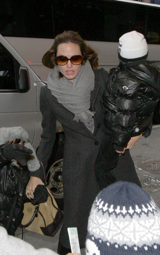 Angelina & Family Out in NYC