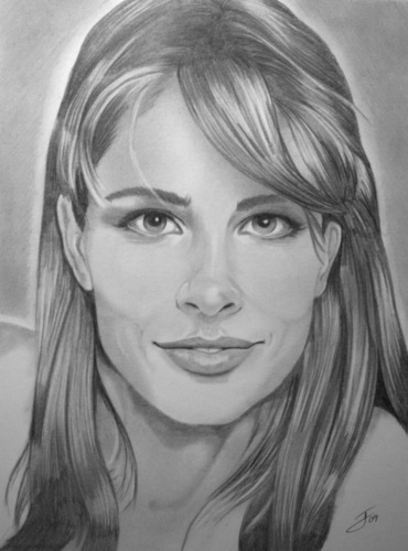 Black and White Portrait of Amanda Peet