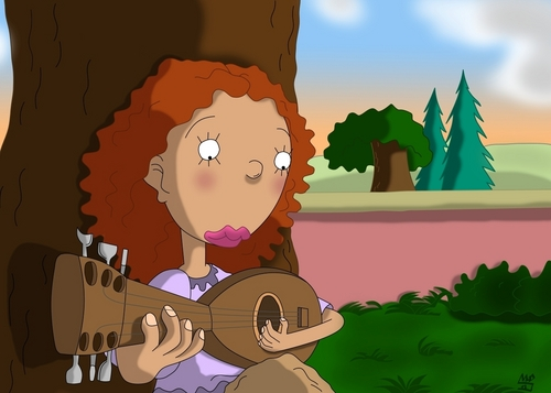 Ginger Playing Her gitara
