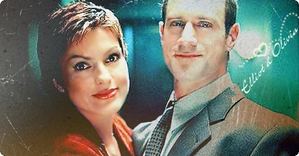 Elliot and Olivia wallpaper probably containing a business suit and a portrait titled Mariska and Chris