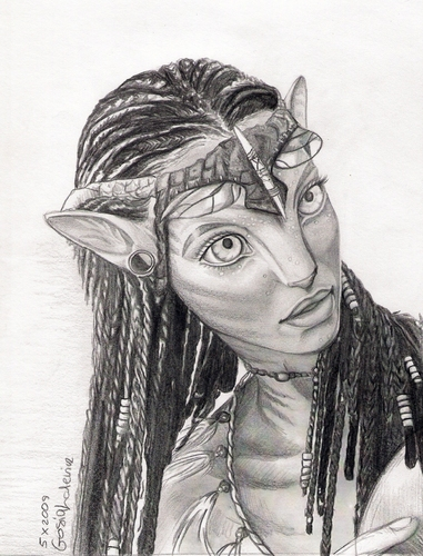 awatara wolpeyper entitled Neytiri drawing