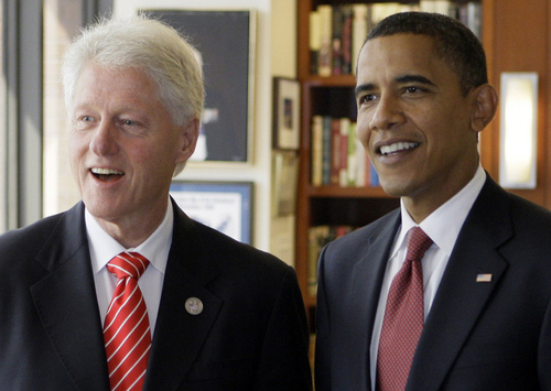 Bill Clinton fond d'écran containing a business suit and a suit titled President Clinton & President Obama